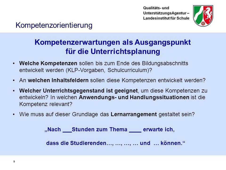 I.Informationen zum Konzept und zur Gestaltung von kompetenzorientierten Kernlehrplänen III.