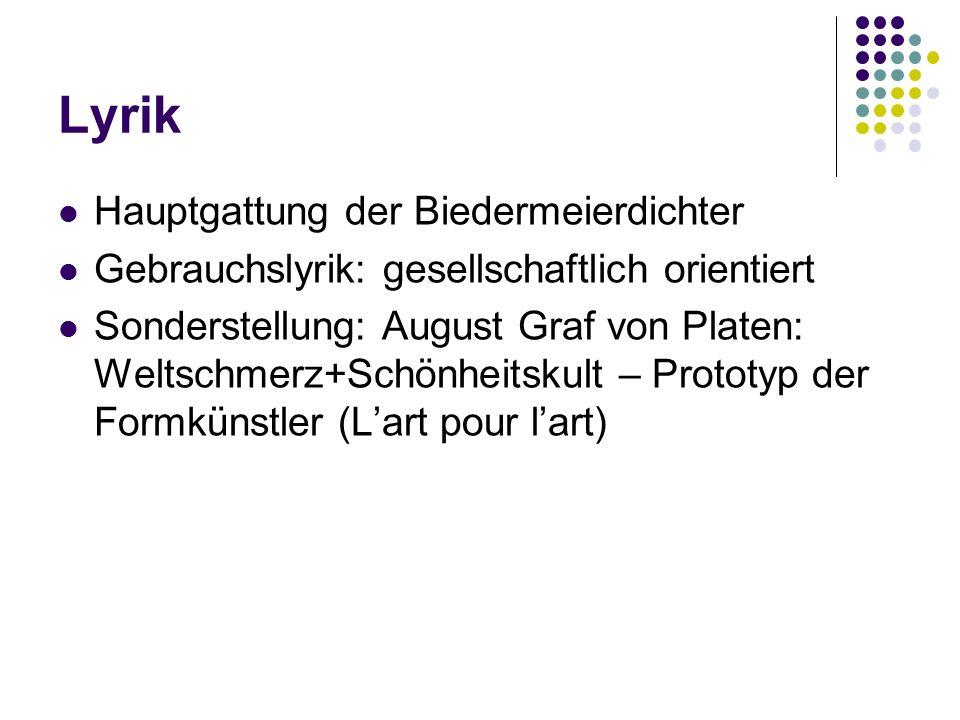 Lyrik Hauptgattung der Biedermeierdichter Gebrauchslyrik: gesellschaftlich orientiert Sonderstellung: August Graf von Platen: Weltschmerz+Schönheitskult – Prototyp der Formkünstler (L'art pour l'art)