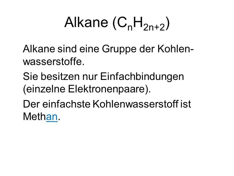 Alkane (C n H 2n+2 ) Alkane sind eine Gruppe der Kohlen- wasserstoffe.
