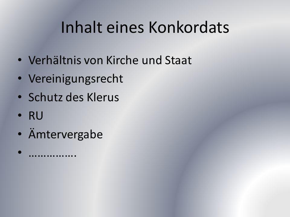 Inhalt eines Konkordats Verhältnis von Kirche und Staat Vereinigungsrecht Schutz des Klerus RU Ämtervergabe …………….