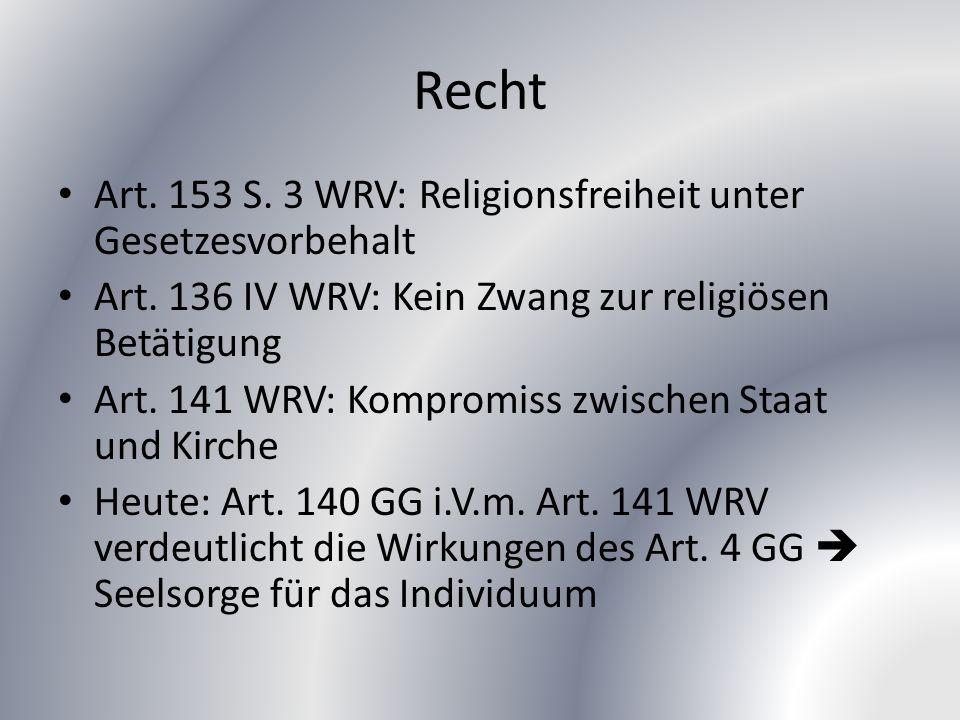 Recht Art. 153 S. 3 WRV: Religionsfreiheit unter Gesetzesvorbehalt Art.