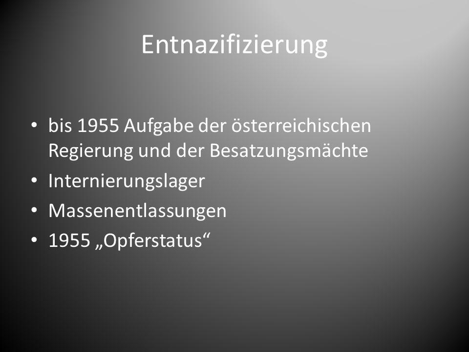 """Entnazifizierung bis 1955 Aufgabe der österreichischen Regierung und der Besatzungsmächte Internierungslager Massenentlassungen 1955 """"Opferstatus"""