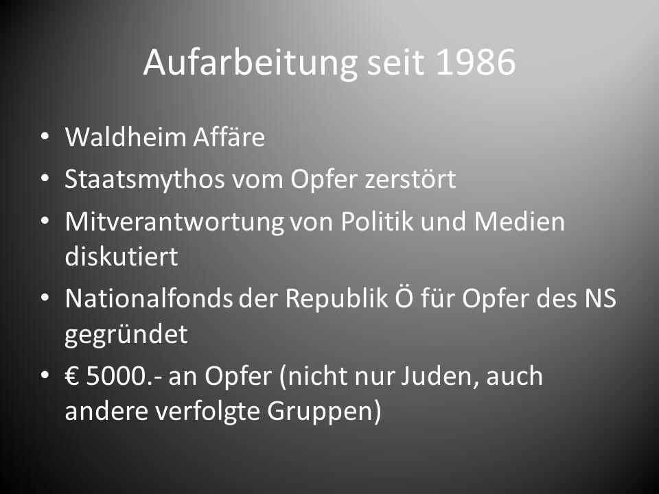Aufarbeitung seit 1986 Waldheim Affäre Staatsmythos vom Opfer zerstört Mitverantwortung von Politik und Medien diskutiert Nationalfonds der Republik Ö für Opfer des NS gegründet € 5000.- an Opfer (nicht nur Juden, auch andere verfolgte Gruppen)