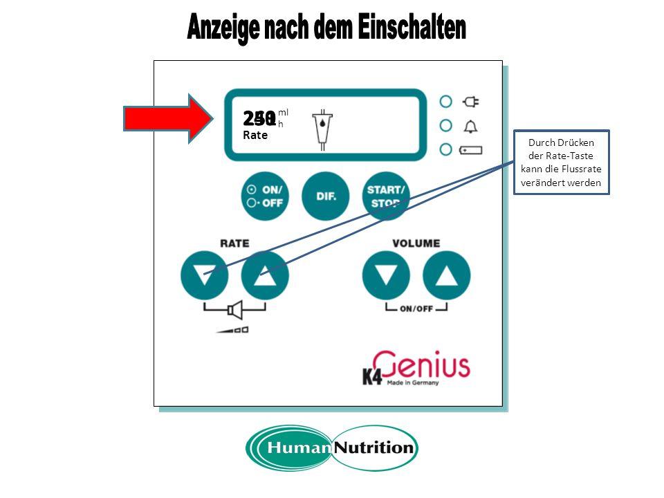 A Rate 250 ml h Mit der DIF.- Taste kann das System gefüllt werden Anzeige der beim Abschalten gespeicherten Flussrate Funktion der DIF.-Taste