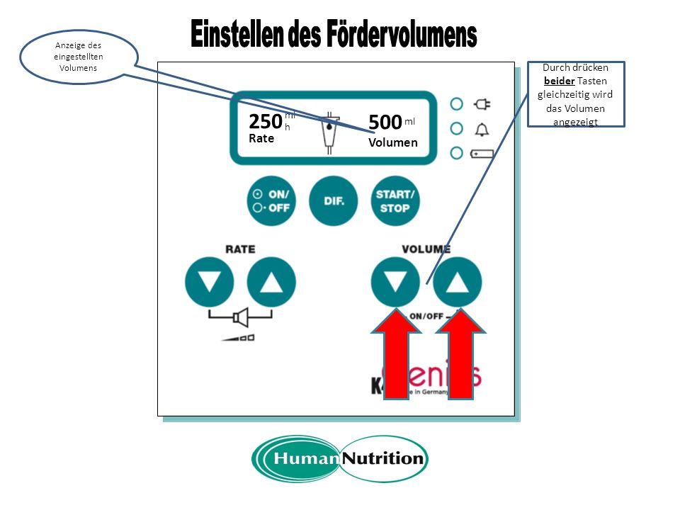 A Rate 250 ml h Mit der Start- taste wird die Förderung gestartet Anzeige der aktuellen Förderrate Der drehende Punkt zeigt an, dass die Pumpe fördert
