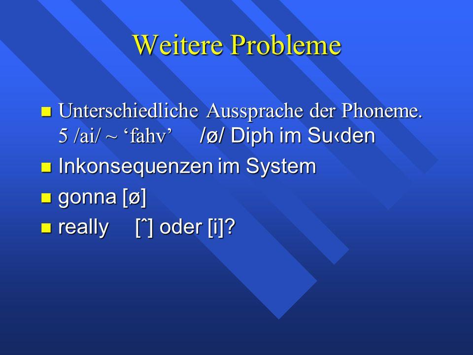 Weitere Probleme Unterschiedliche Aussprache der Phoneme.