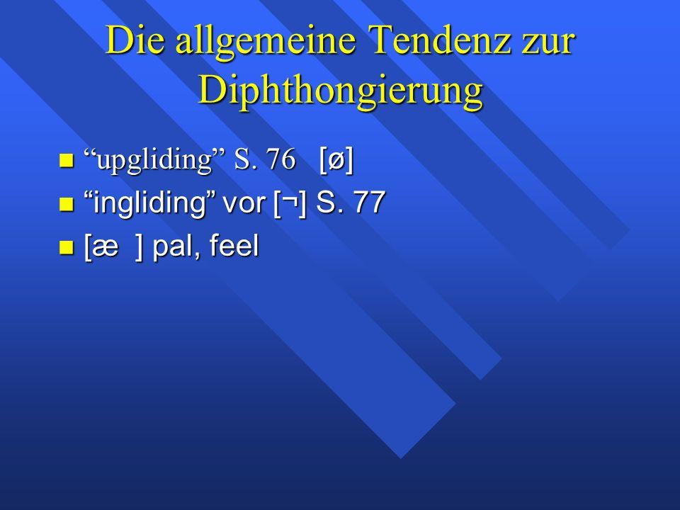 Die allgemeine Tendenz zur Diphthongierung upgliding S.