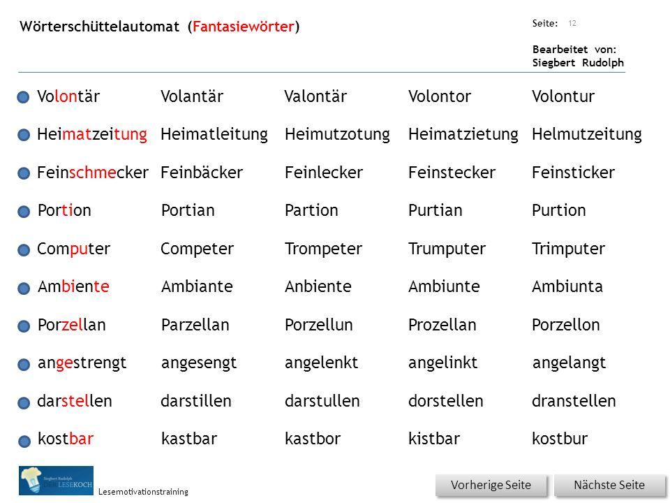 Übungsart: Seite: Bearbeitet von: Siegbert Rudolph Lesemotivationstraining Wörterschüttelautomat (Fantasiewörter) 12 VolontärVolantärValontärVolontorV