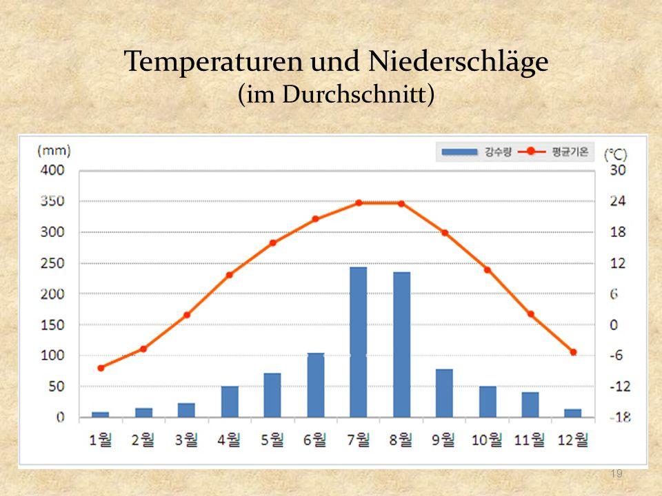 Temperaturen und Niederschläge (im Durchschnitt) 19