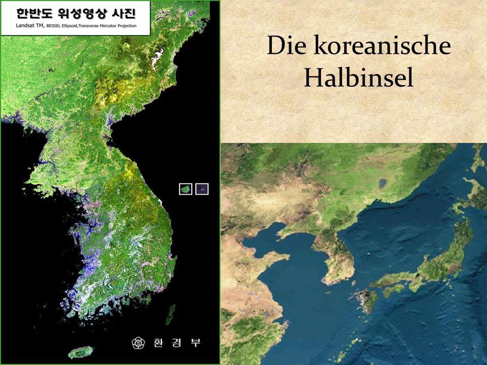 Lage des Landes Geographische Lage: 33°- 43° Breite / 124°-131° Länge Fläche: 223.343 ㎢ (Gesamt) 100.212 ㎢ (Südkorea) Nachbarländer: China, Japan und Russland 3