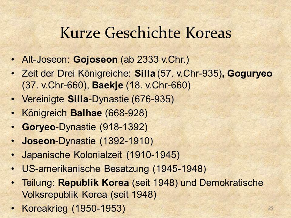 Kurze Geschichte Koreas Alt-Joseon: Gojoseon (ab 2333 v.Chr.) Zeit der Drei Königreiche: Silla (57.