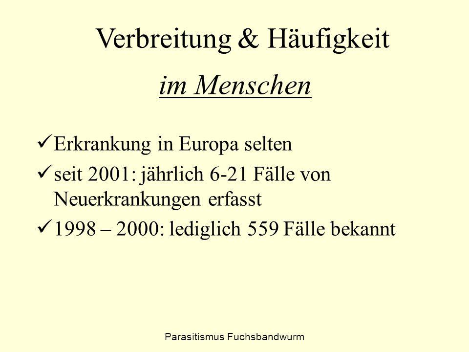 Erkrankung in Europa selten seit 2001: jährlich 6-21 Fälle von Neuerkrankungen erfasst 1998 – 2000: lediglich 559 Fälle bekannt im Menschen Verbreitun