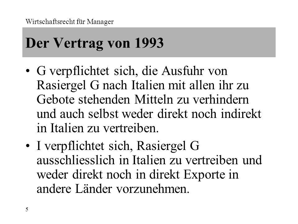 Wirtschaftsrecht für Manager 6 Der Vertrag von 2012 I soll keine aktiven Schritte unternehmen, um Rasiergel G ausserhalb Italiens zu verkaufen.