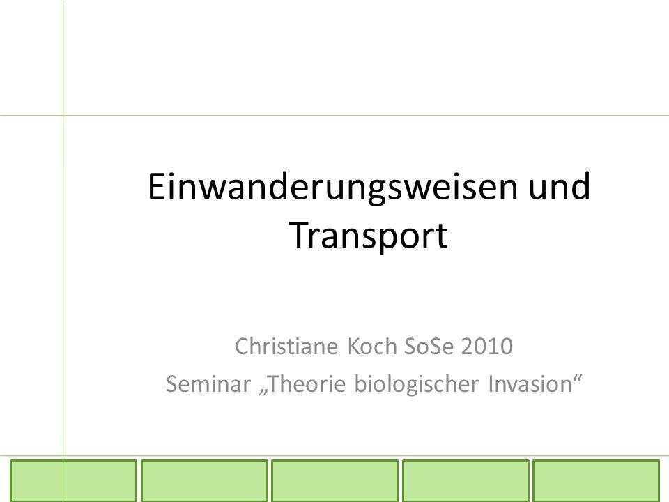 """Einwanderungsweisen und Transport Christiane Koch SoSe 2010 Seminar """"Theorie biologischer Invasion"""