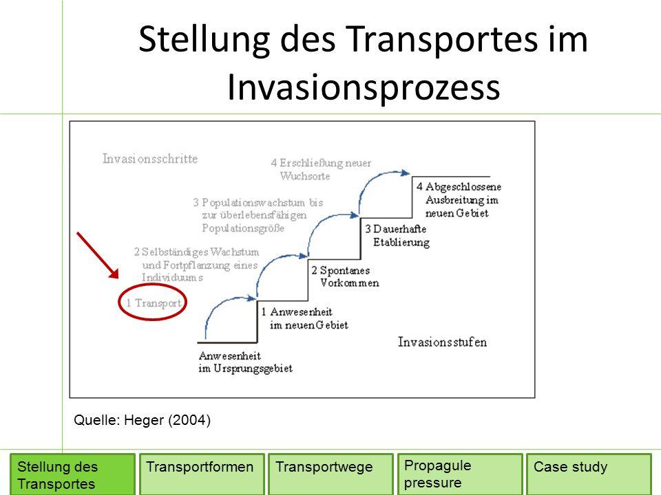 Stellung des Transportes im Invasionsprozess TransportformenTransportwege Propagule pressure Stellung des Transportes Case study Quelle: Heger (2004)