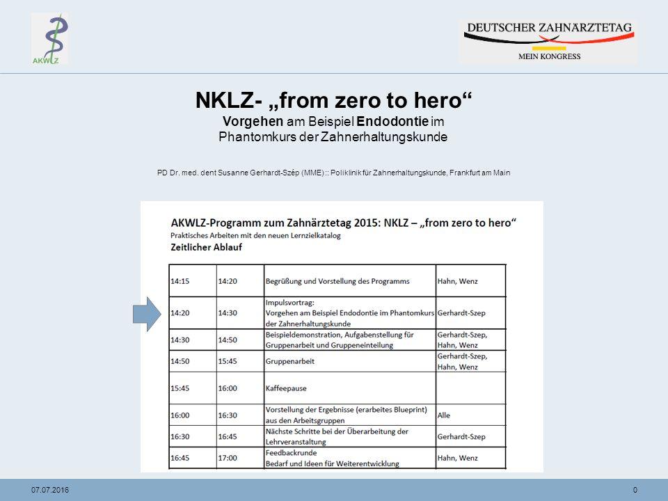 """007.07.2016 NKLZ- """"from zero to hero Vorgehen am Beispiel Endodontie im Phantomkurs der Zahnerhaltungskunde PD Dr."""
