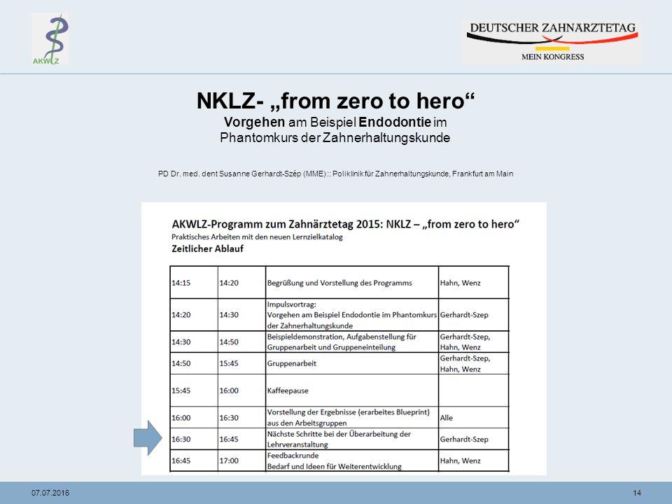 """1407.07.2016 NKLZ- """"from zero to hero Vorgehen am Beispiel Endodontie im Phantomkurs der Zahnerhaltungskunde PD Dr."""