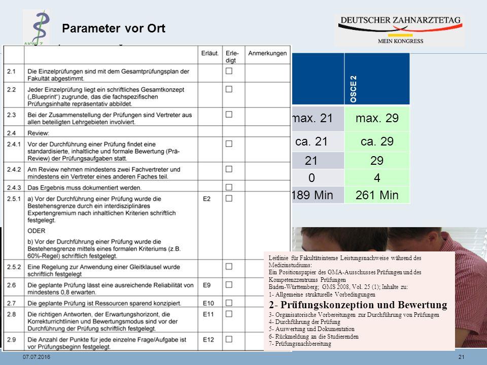 2107.07.2016 Parameter vor Ort Parameter OSCE 1OSCE 2 Anzahl Prüflinge pro OSCE-Rundemax.