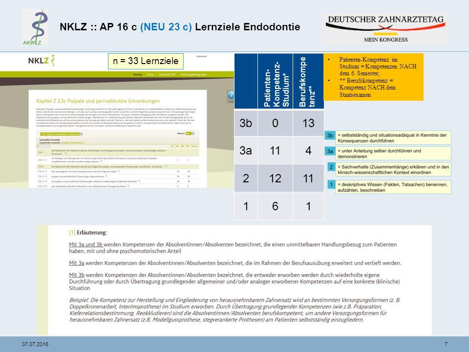 """1807.07.2016 Beispiel für ein Blueprint Endodontie Phantomkurs Lernziel NKLZ """"Sie können... Kompetenz- stufe NKLZ Ätiologie Prävention Diagnostik Therapie Gewichtung in % Lehr- Lernszenario Prüfszenario 1 Prüfszenario 2 Anzahl Stationen a 8 Minuten 1."""