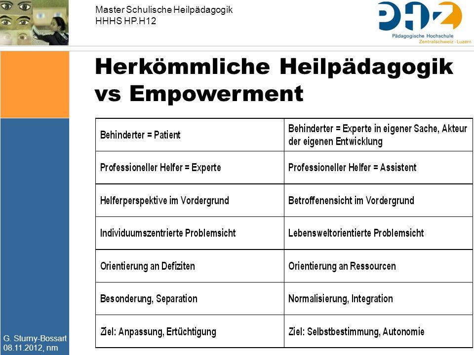 Master Schulische Heilpädagogik HHHS HP.H12 G. Sturny-Bossart 08.11.2012, nm Herkömmliche Heilpädagogik vs Empowerment