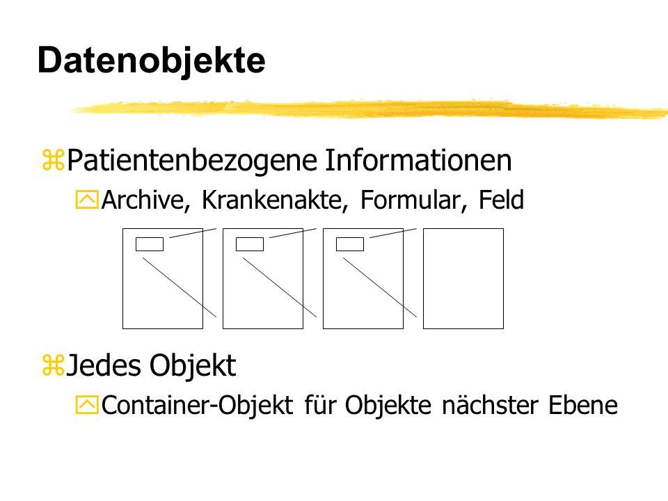 Datenobjekte zPatientenbezogene Informationen yArchive, Krankenakte, Formular, Feld zJedes Objekt yContainer-Objekt für Objekte nächster Ebene