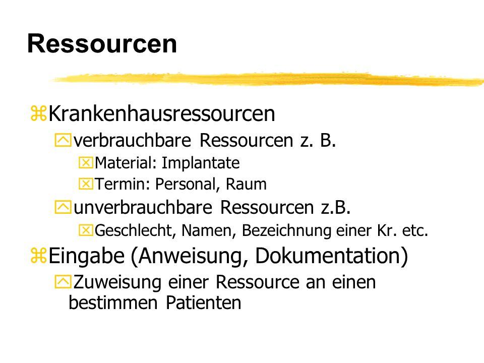 Ressourcen zKrankenhausressourcen yverbrauchbare Ressourcen z.
