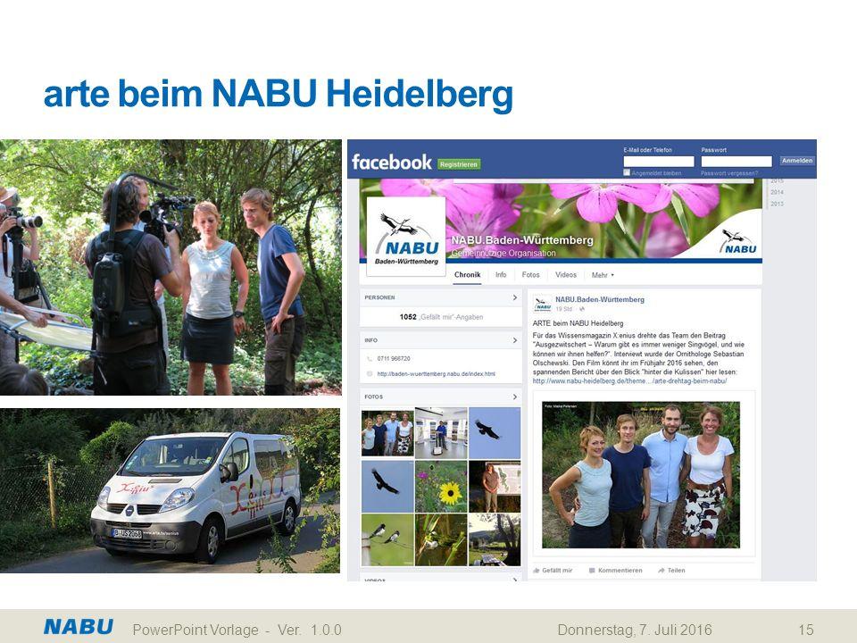arte beim NABU Heidelberg Donnerstag, 7. Juli 2016PowerPoint Vorlage - Ver. 1.0.015