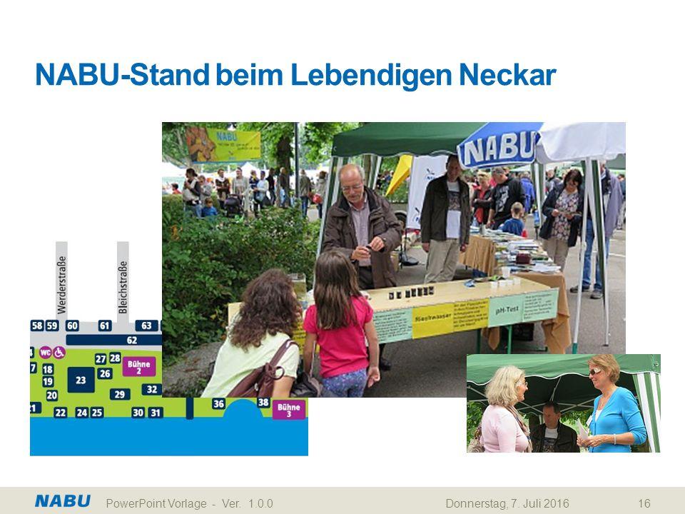 NABU-Stand beim Lebendigen Neckar Donnerstag, 7. Juli 2016PowerPoint Vorlage - Ver. 1.0.016