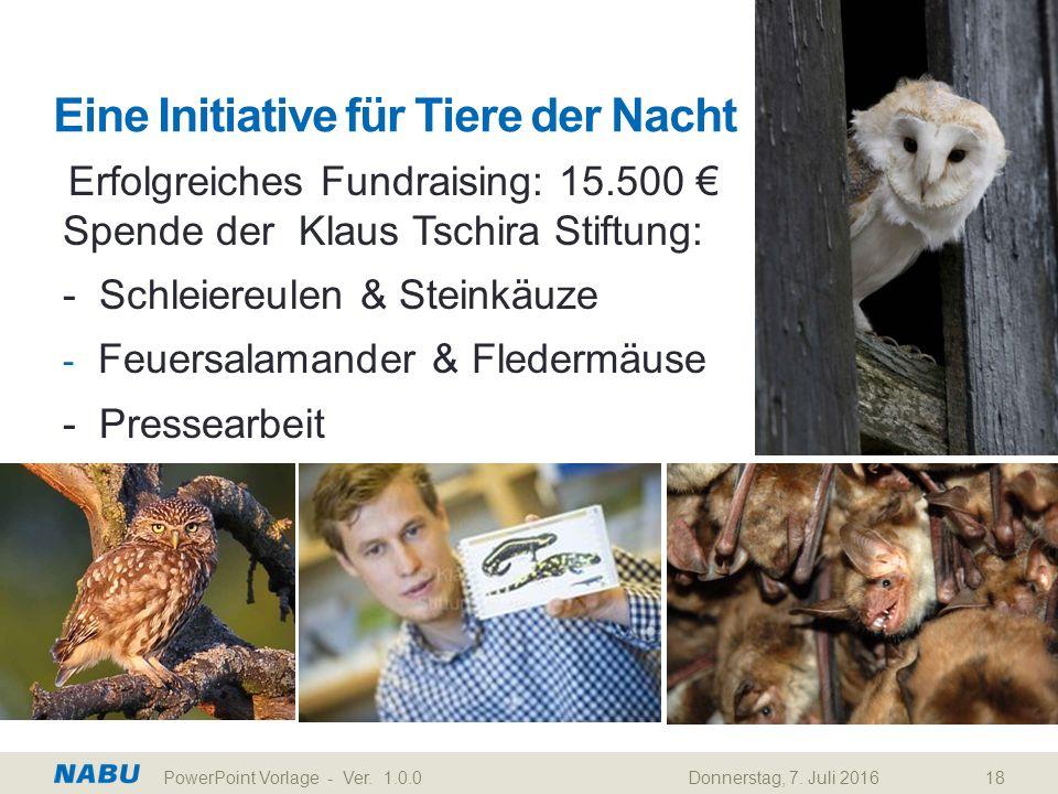 Eine Initiative für Tiere der Nacht Erfolgreiches Fundraising: 15.500 € Spende der Klaus Tschira Stiftung: - Schleiereulen & Steinkäuze - Feuersalamander & Fledermäuse - Pressearbeit Donnerstag, 7.