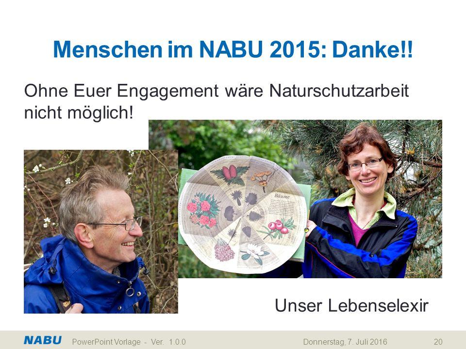 Menschen im NABU 2015: Danke!! Ohne Euer Engagement wäre Naturschutzarbeit nicht möglich! Donnerstag, 7. Juli 2016PowerPoint Vorlage - Ver. 1.0.020 Un