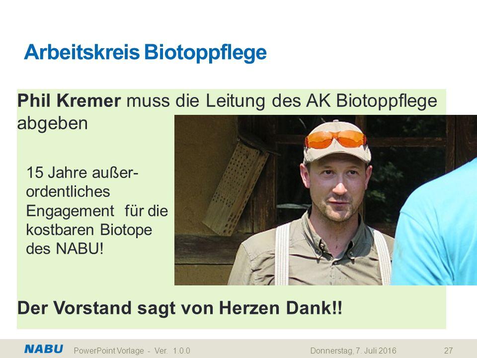 Phil Kremer muss die Leitung des AK Biotoppflege abgeben 15 Jahre außer- ordentliches Engagement für die kostbaren Biotope des NABU! Der Vorstand sagt