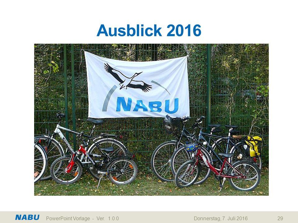 Ausblick 2016 Donnerstag, 7. Juli 2016PowerPoint Vorlage - Ver. 1.0.029