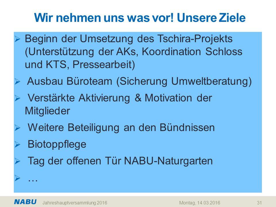Wir nehmen uns was vor! Unsere Ziele 31  Beginn der Umsetzung des Tschira-Projekts (Unterstützung der AKs, Koordination Schloss und KTS, Pressearbeit