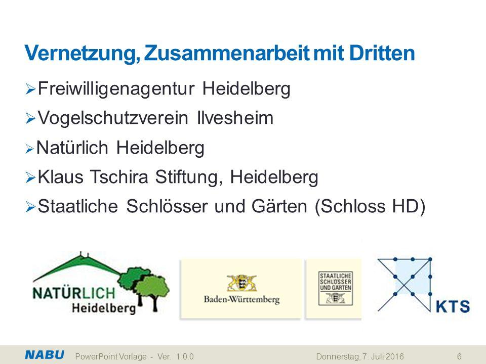 Vernetzung, Zusammenarbeit mit Dritten  Freiwilligenagentur Heidelberg  Vogelschutzverein Ilvesheim  Natürlich Heidelberg  Klaus Tschira Stiftung, Heidelberg  Staatliche Schlösser und Gärten (Schloss HD) Donnerstag, 7.