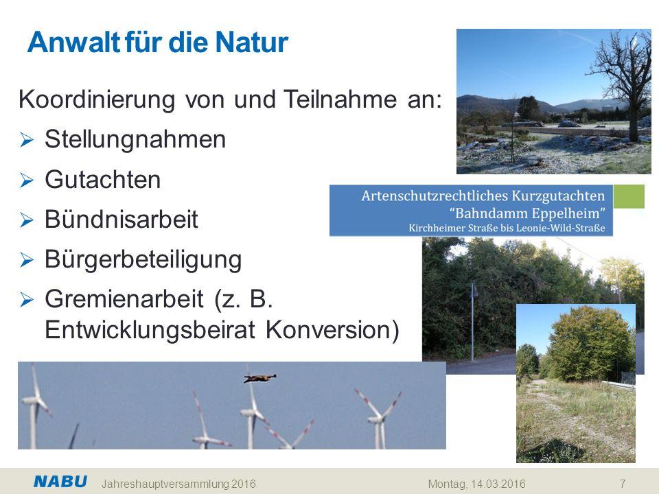 Anwalt für die Natur 7 Koordinierung von und Teilnahme an:  Stellungnahmen  Gutachten  Bündnisarbeit  Bürgerbeteiligung  Gremienarbeit (z. B. Ent