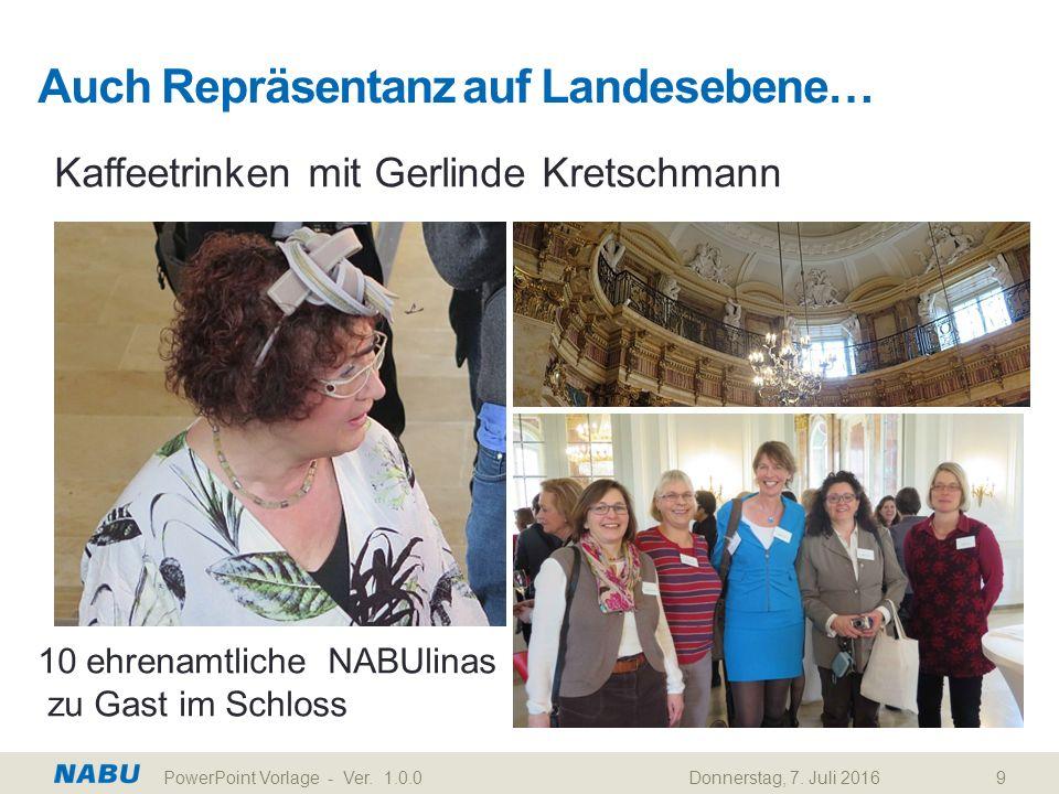 Auch Repräsentanz auf Landesebene… Kaffeetrinken mit Gerlinde Kretschmann 10 ehrenamtliche NABUlinas zu Gast im Schloss Donnerstag, 7. Juli 2016PowerP