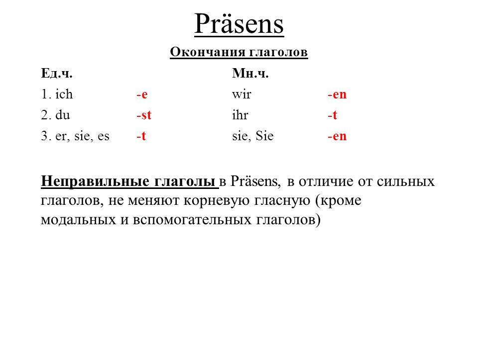 Präsens Окончания глаголов Ед.ч.Мн.ч.1. ich-ewir-en 2.