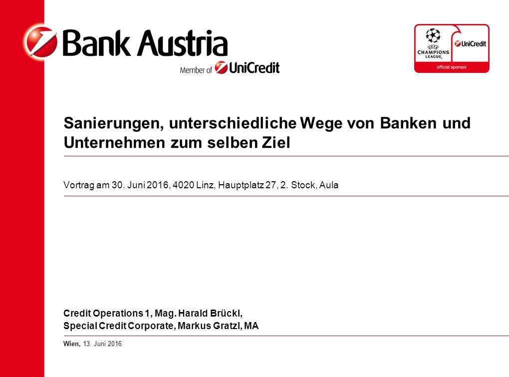 Sanierungen, unterschiedliche Wege von Banken und Unternehmen zum selben Ziel Vortrag am 30.