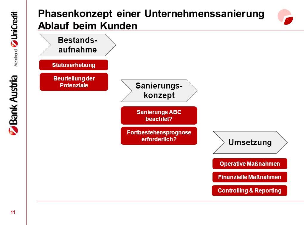 Phasenkonzept einer Unternehmenssanierung Ablauf beim Kunden 11 Sanierungs- konzept Umsetzung Beurteilung der Potenziale Sanierungs ABC beachtet.