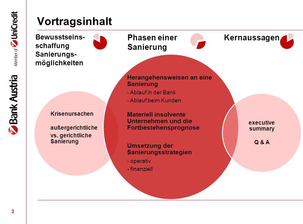 13 Bewusstseinsschaffung Sanierungsmöglichkeiten Krisenursachen Außergerichtliche vs.