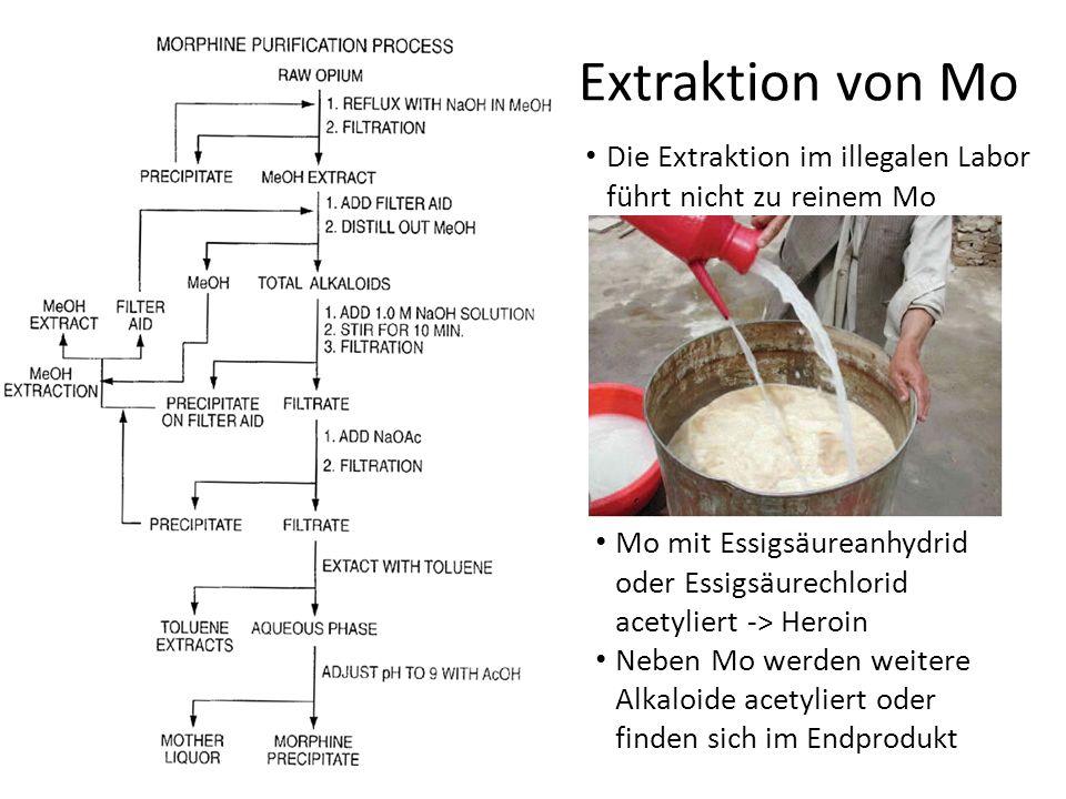 Extraktion von Mo Die Extraktion im illegalen Labor führt nicht zu reinem Mo Mo mit Essigsäureanhydrid oder Essigsäurechlorid acetyliert -> Heroin Neb