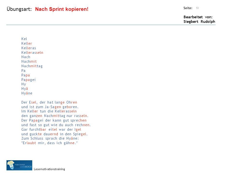 Übungsart: Seite: Bearbeitet von: Siegbert Rudolph Lesemotivationstraining 10 Nach Sprint kopieren.