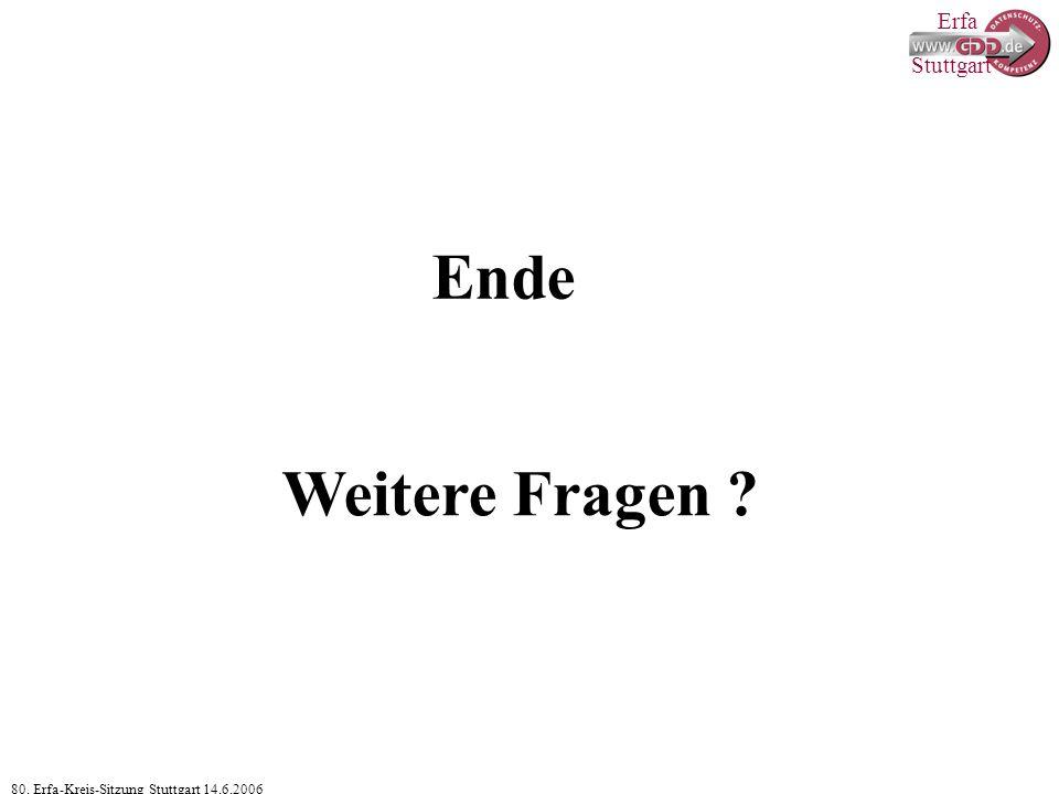 Erfa 80. Erfa-Kreis-Sitzung Stuttgart 14.6.2006 Stuttgart Ende Weitere Fragen