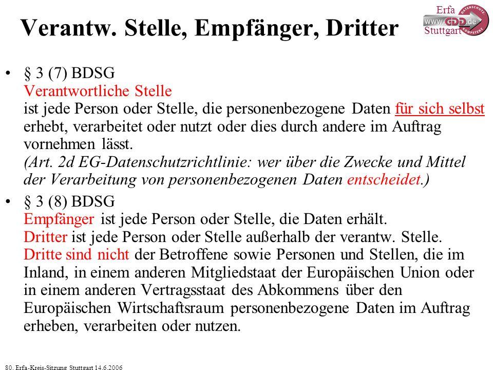 Erfa 80. Erfa-Kreis-Sitzung Stuttgart 14.6.2006 Stuttgart Verantw. Stelle, Empfänger, Dritter § 3 (7) BDSG Verantwortliche Stelle ist jede Person oder