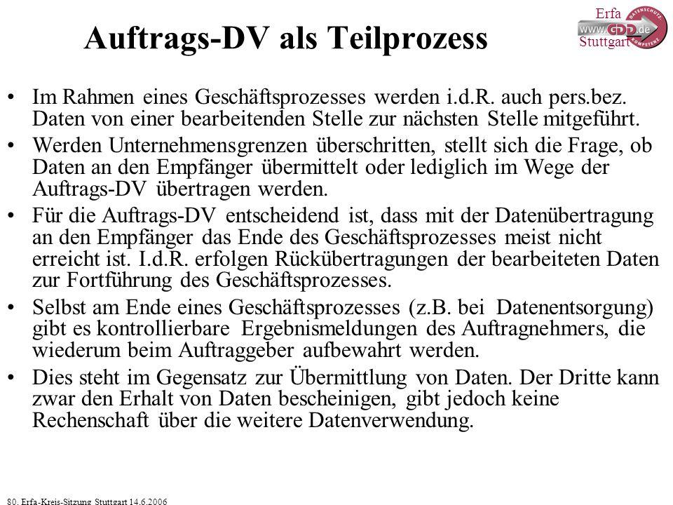 Erfa 80. Erfa-Kreis-Sitzung Stuttgart 14.6.2006 Stuttgart Auftrags-DV als Teilprozess Im Rahmen eines Geschäftsprozesses werden i.d.R. auch pers.bez.