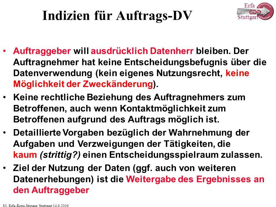 Erfa 80. Erfa-Kreis-Sitzung Stuttgart 14.6.2006 Stuttgart Indizien für Auftrags-DV Auftraggeber will ausdrücklich Datenherr bleiben. Der Auftragnehmer