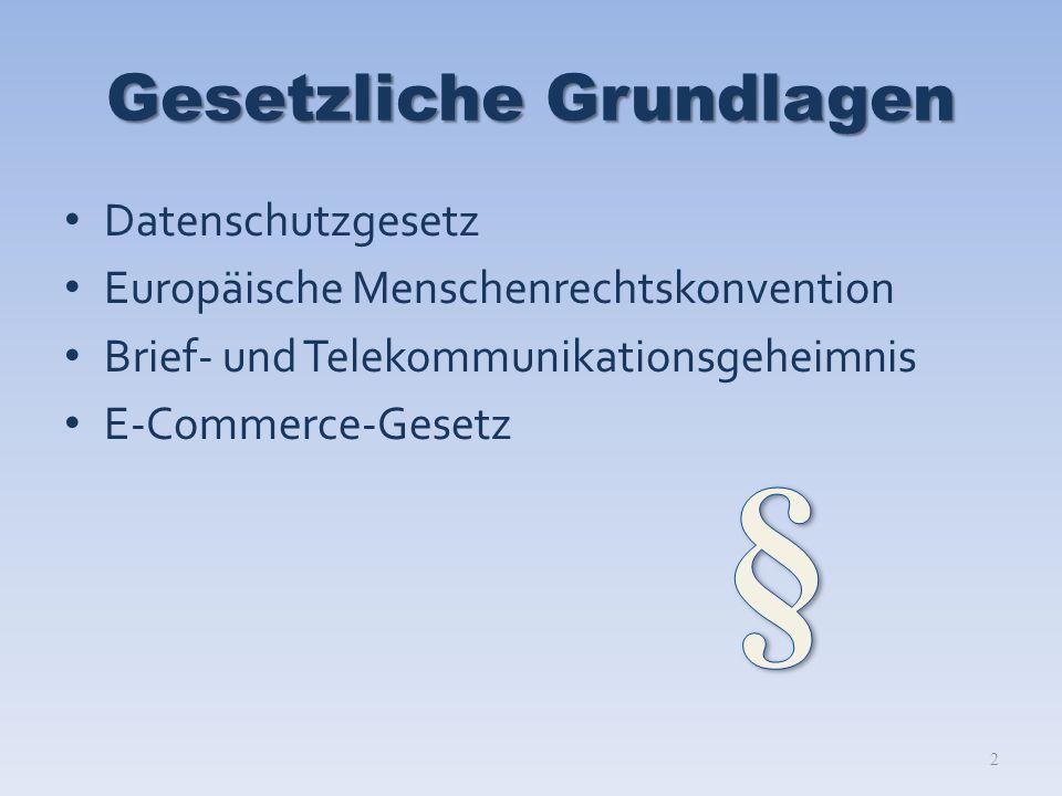 Gesetzliche Grundlagen Datenschutzgesetz Europäische Menschenrechtskonvention Brief- und Telekommunikationsgeheimnis E-Commerce-Gesetz 2