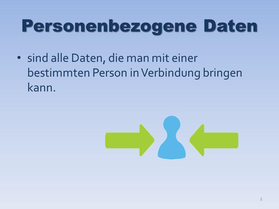 Personenbezogene Daten sind alle Daten, die man mit einer bestimmten Person in Verbindung bringen kann.