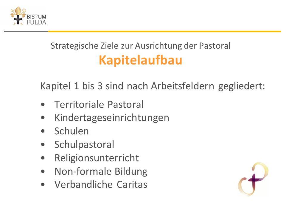 Strategische Ziele zur Ausrichtung der Pastoral Kapitelaufbau Kapitel 1 bis 3 sind nach Arbeitsfeldern gegliedert: Territoriale Pastoral Kindertageseinrichtungen Schulen Schulpastoral Religionsunterricht Non-formale Bildung Verbandliche Caritas