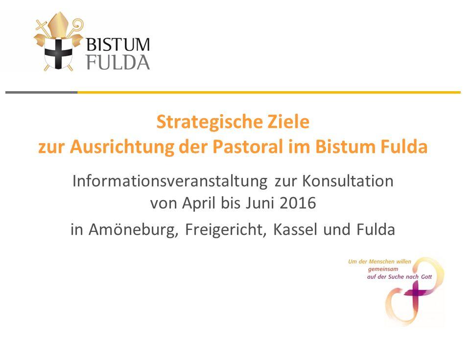 Strategische Ziele zur Ausrichtung der Pastoral im Bistum Fulda Informationsveranstaltung zur Konsultation von April bis Juni 2016 in Amöneburg, Freigericht, Kassel und Fulda